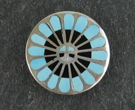 """Zuni Sunface Sterling Silver ebony and Turquoise Pendant/ Pin...  1"""" across"""