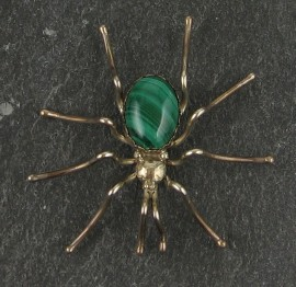 """Sterling Silver with Variscite body Spider Pin..  1 3/4""""x 1 1/2"""""""