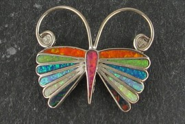 Zuni Sterling Silver Rainbow Butterfly Pin/Pendant...