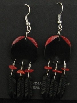 Red and Black Earrings with 3 feathers..