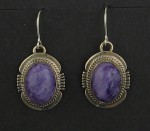Sterling Silver and Charoite Earrings..