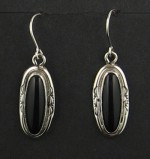 Onyx set in Sterling Silver Earrings..