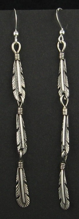Sterling Silver Feather Trio Earrings..
