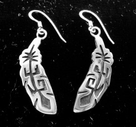 Hopi Sterling Silver Feather Earrings.