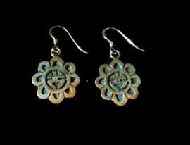 """Hopi Sterling Silver Sun Face Earrings. 3/4"""" Round. Artist - Clement Honie"""