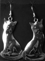 Navajo Sterling Silver Cat Earrings. 