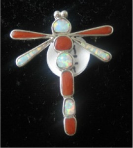 Zuni Coral and Opal Dragonfly Pin/Pendant.  Sterling Silver.