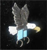 Zuni Mother of Pearl, Ebony, Turquoise Flying Eagle Pin/Pendant.