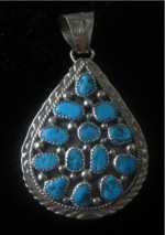 Navajo Turquoise Teardrop Pendant. 