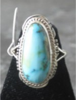 Item Number - #1432 Navajo Sterling Silver Ring.  Turquoise Stone.  Traditional Design.  Size 6.