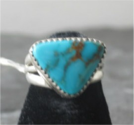 Item Number - #1366. Navajo Sterling Silver Ring.  Turquoise Ring.  Traditional Design.  Size 6.