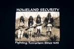 "Black, printed ""Homeland Security,"" t-shirt. 