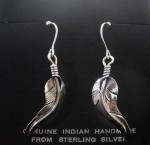 Navajo Sterling Silver Feather Earrings.