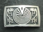 'Man in the Maze' & '2-Kokopelli' Hopi Belt Buckle - Sterling Silver.