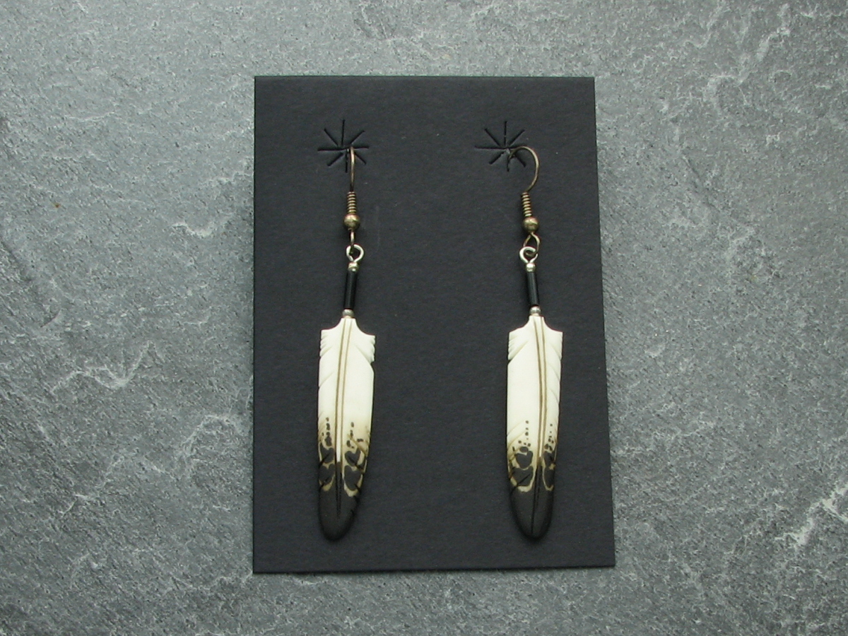Coyote Trading Company Product Details Eagle Bone Feather Earrings