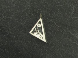 "Triangular-shaped Hopi pendant, sterling, 1"". Hallmarked."