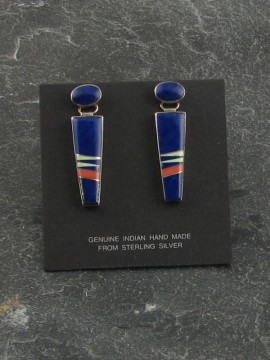 "Lapis earrings with coral and topaz inlay. 1 1/2"" long"