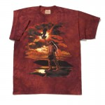 A vibrant deep crimson color adds a dramatic background to this image of an Indian Brave, atop a rock outcropping, with an approaching eagle. 