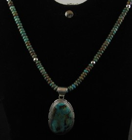 """Wonderful Bolder Turquoise Necklace with large Sterling silver and Boulder Turquoise Pendent..  Necklace 18"""" pendent 2"""" long         1 1/2"""" wide"""