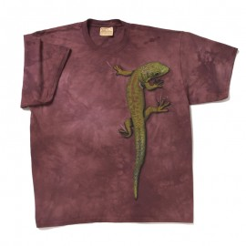 "Another magnificent color combination (lizard green on a ripe plum background)...and we all know the significance of the need for the ability of ""transformation"" or ""regeneration"", as represented by this classic lizard totem, in todays society. 